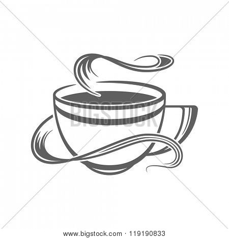 Coffee or Tea Cup Vector Illustration. Coffee Cup Silhouette Isolated On White Background. Vector object for Labels, Badges, Logos Design. Coffee Logo, Tea Logo, Coffee Cup Silhouette, Retro Logo.