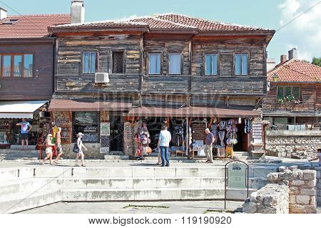 Nesebar, Bulgaria. Typical Houses In The Old Town