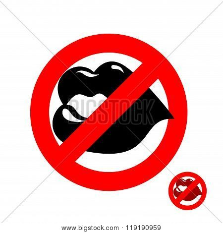 Stop Kiss. Forbidden Kiss. Frozen Juicy Womens Lips. Emblem Against Kissing. Red Forbidding Characte