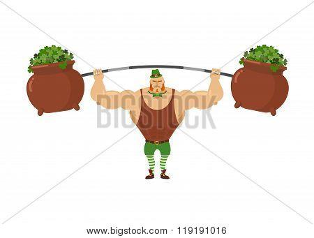 Leprechaun Strongman. Powerful Leprechaun Athlete And Rod. Pot With Clover. Mythical Dwarf  Bodybuil