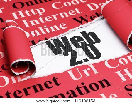 Web development concept: black text Web 2.0 under the piece of  torn paper
