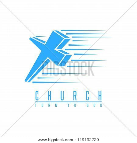 Cross Logo Church, Spirituality Religion Symbol Blue Mockup, Christian Gospel Design Element