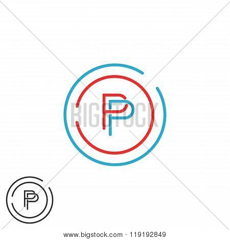 Monogram P Letter Logo Mockup, Initial Modern Hipster Thin Line Emblem Template, Red And Blue Circle