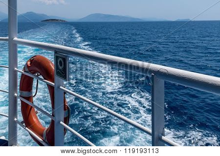 Trails Of The Ship In The Blue Sea