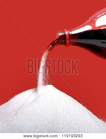 Cola Refreshing Drink Bottle Neck Pouring The Liquid As Its Transforming Into Pure White Sugar