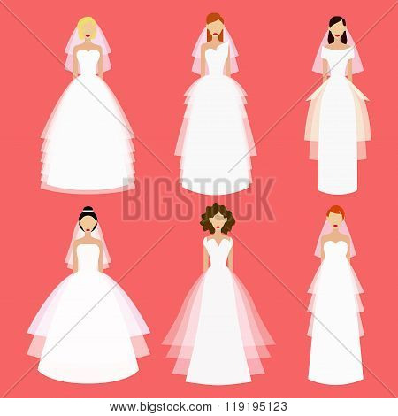 Brides vector set