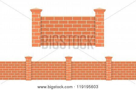 Stone bricks fence isolated white background.