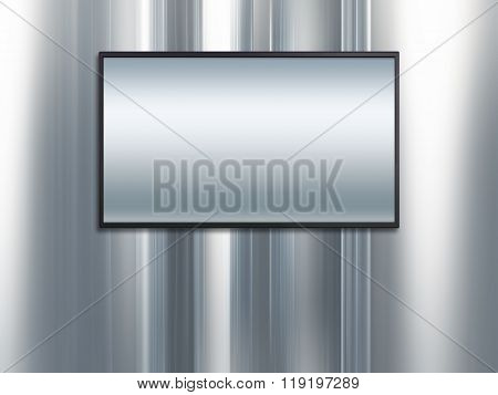 Blank Wide Screen Tv With Platinum Metal Background