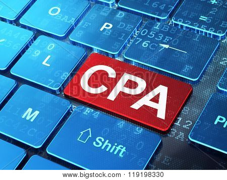 Business concept: CPA on computer keyboard background