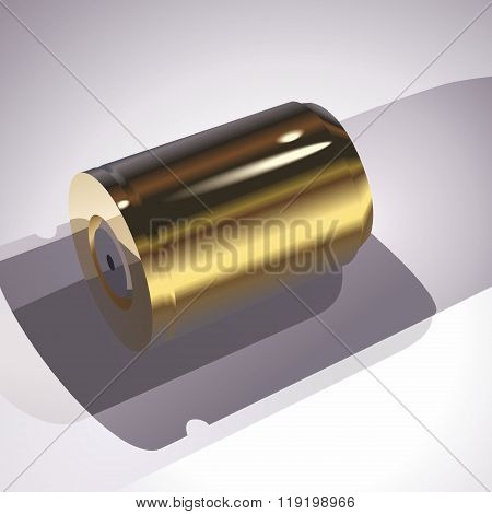 Gold battery on a gray background
