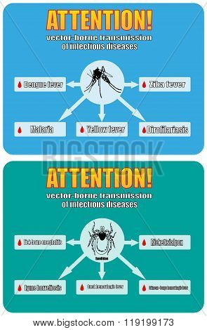 vector-borne transmission of infectious diseases. the zika virus Borrelia Lyme tick-borne encephalitis malaria dengue poster