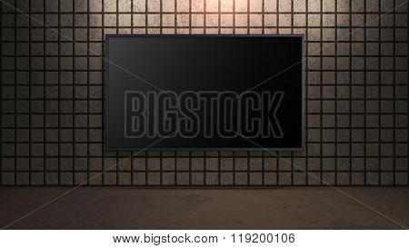 Blank Wide Screen Tv With Square Brick Brown Wall In Room