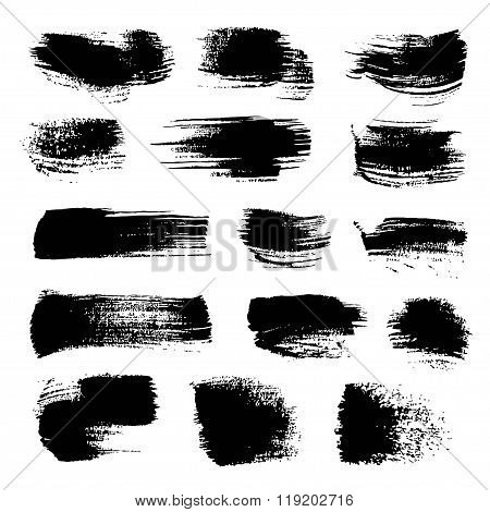 Abstract Black Strokes Of Different Freeform Brush Isolated On A White Background