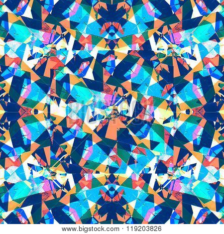 Sharp Geometric Multicolor Collage Seamless Pattern