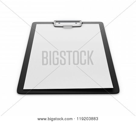 Clipboard With An Empty Sheet Of Paper Isolated On The White Background. Paper Holder. 3D