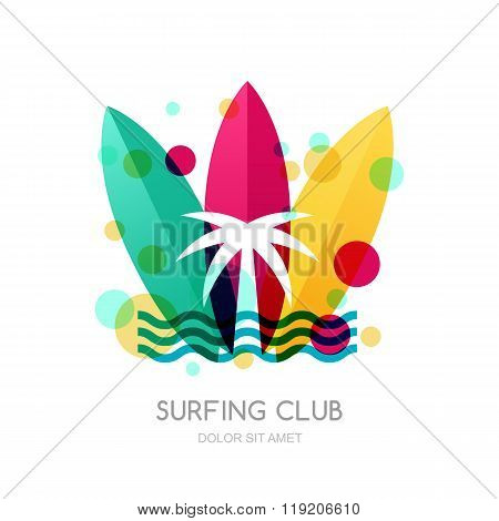 Colorful Surfing Boards And Palm On The Beach. Summer Holidays Design Concept.