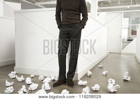 Office worker with crumpled paper