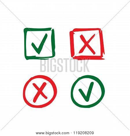 Hand drawn check mark icons
