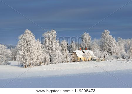Cozy Farmhouse On A Snowcovered Field With Trees In Winter