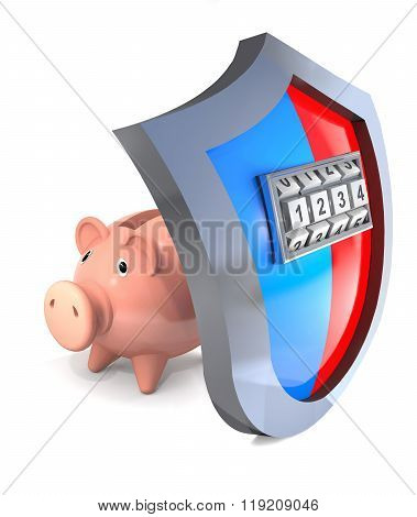 Concept Of Hacking  Protective Shield Of Piggy Bank.