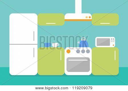 Flat design illustration of kitchen. Flat design room interior.