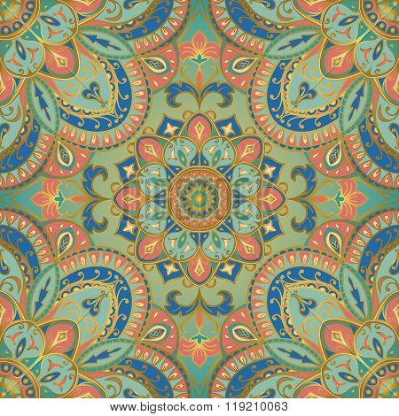 Background with tender filigree ornaments. Seamless vector pattern with elegant mandalas. Template for textiles shawls carpets bedspreads wallpaper. poster