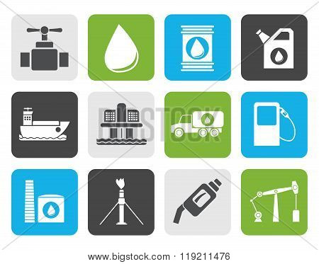 Flat oil and petrol industry objects icons