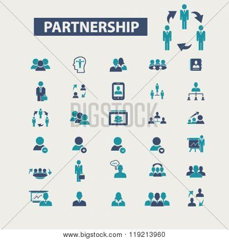 partnership icon, partnership business, partner, team, management, community, icons set