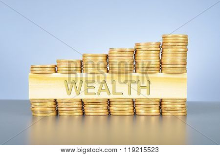 Stack Of Golden Coin With Word Written On Wood