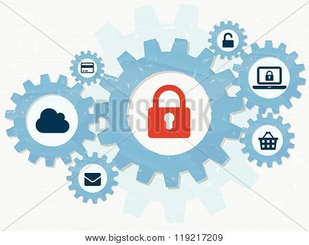 internet security, padlock and technology signs in grunge flat design gears infographic, vector