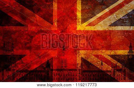 Westminster Palace Union Jack Flag Grunge Texture Background
