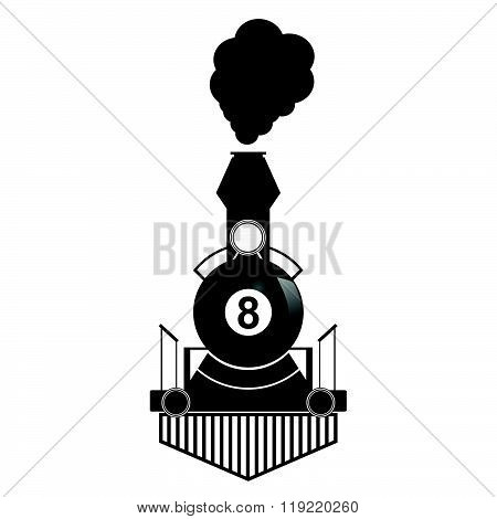 Train With Eight Ball Illustration