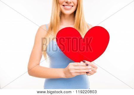 Cheerful Young  Girl Holdind Big Paper Heart, Close Up Photo