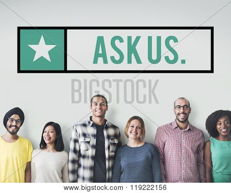 Ask Us Question Inquries Contact Advice Answer Concept
