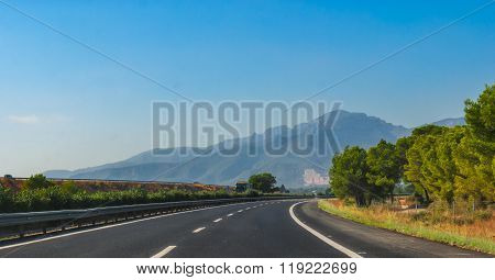 Highway through coastal Foothills and mountains of Spain.