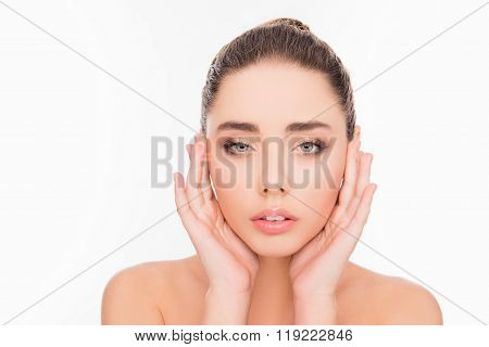 Minded Sensitive Girl Touching Her Face, Close Up Photo