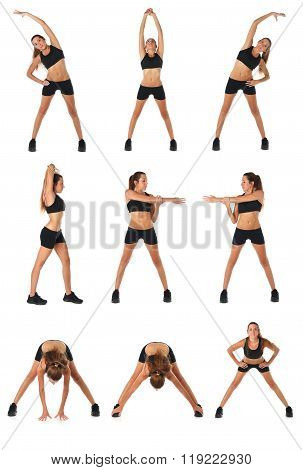 Fitness collage. Young woman doing exercise and stretching