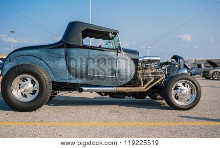 Nice beautiful view of  old classic vintage retro customized street rod car