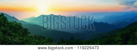 Sunrise At Seoraksan National Park, The Best Of Mountain In South Korea. Panorama Landscape.