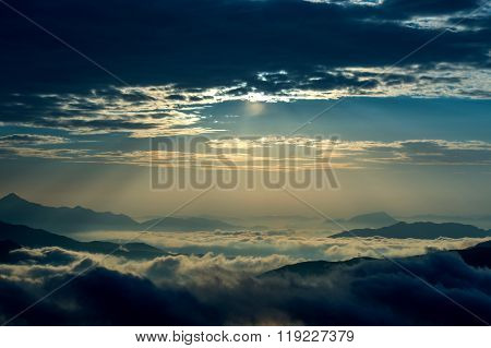 Seoraksan mountains is covered by morning fog and sunrise in Seoul Korea.