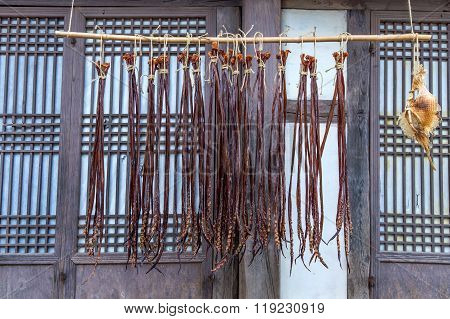 Dried fish at Dae Jang Geum Park or Korean Historical Drama in South Korea. poster
