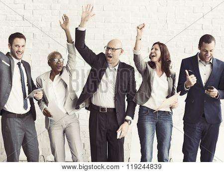 Business People Celebration Arms Raised Ecstatic Concept