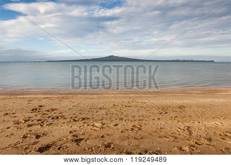 Mission Bay View With Rangitoto Island Background, Auckland, New Zealand.
