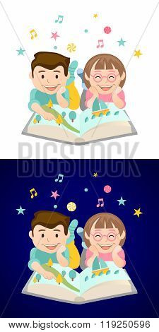Vector Interesting Creative Happy Young Children Reading Encyclopedia Book lying on the Floor