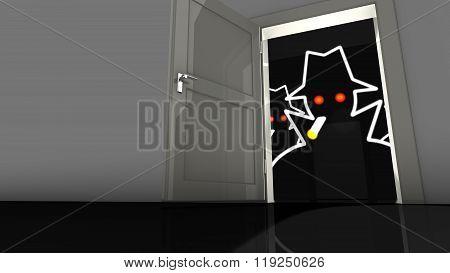Hacker In The Dark Behind A Backdoor