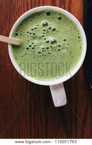 Close up of Greentea matcha latte background poster