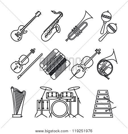 Musical instruments thin line icons