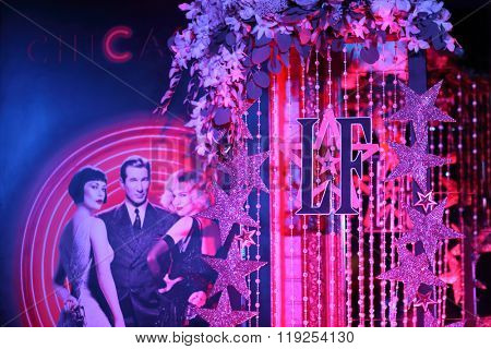 MOSCOW - APR 26, 2015: Poster with the characters of the musical Chicago in Chicago interior karaoke club on the glossy magazine LF city party