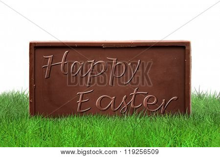 Happy Easter text on chocolate bar on white background