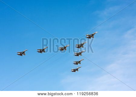 Group Of Planes Sukhoi Su-30 And Su-35